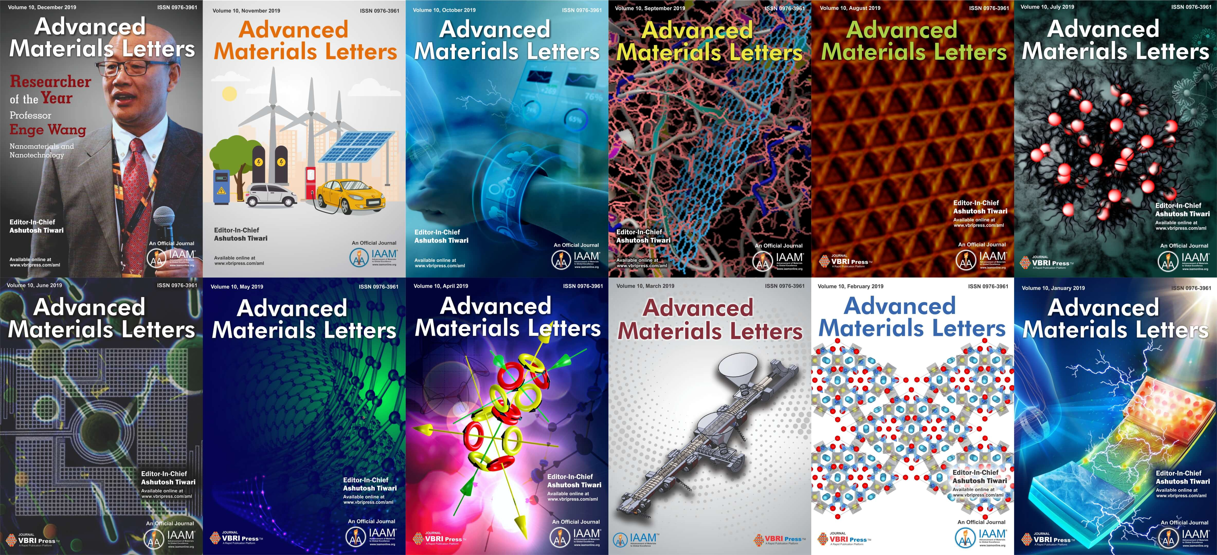 Cover images of Advanced Materials Letters published in 2019 | IAAM