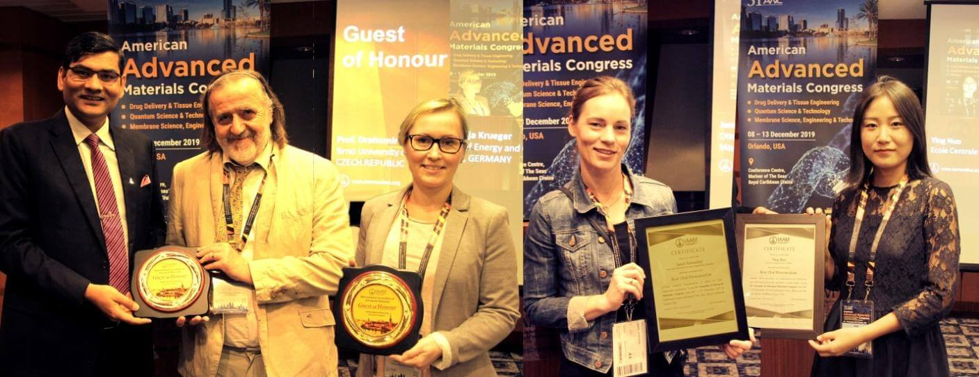 Guest of Honour being presented to the eminent speakers in American Advanced Materials Congress 2019 | IAAM
